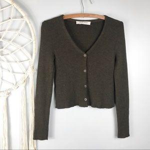 Miu Miu Brown Wool Cropped Cardigan